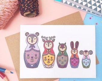 Woodland Animals Russian Doll Card - A6 Blank Card - Matryoshka Doll - Greetings Card - Birthday Card