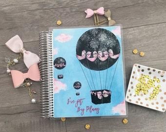 Erin Condren Planner Cover, Happy Planner, Mini Happy Planner, Recollections Planner Cover: Hot Air Balloon, clouds, pink, bows, black
