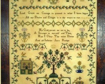 Jane Baxter 1824 Reproduction Sampler by Primitive Traditions Counted Cross Stitch Pattern/Chart