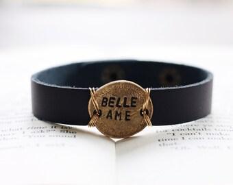 Beautiful Soul Bracelet, Inspirational Bracelet, Leather Cuff Bracelet, Stamped Leather, Custom Bracelet, French Gift, Travel Jewelry