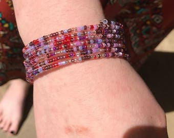 Berry colored memory wire bracelet