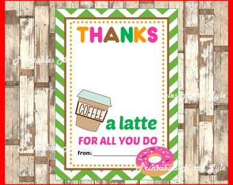 Thanks A Latte Gift Card Holder instant download , Printable Teacher Appreciation Gift cards, Printable Gift Card Holder