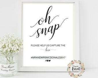 Oh Snap Wedding Sign, Hashtag Sign, Printable Wedding Reception Sign, INSTANT DOWNLOAD Pdf