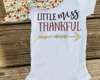 Little Miss Thankful Onesie - Thanksgiving Outfit - Autumn Floral Headwrap