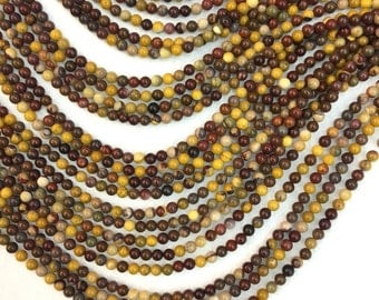 Mookaite Beads 4 6 8 10mm Natural Mookaite Jasper Multi color Beads Mala Beads Mookaite Bracelet Necklace supplies