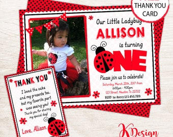 Ladybug  Invitation / Ladybug Birhday Invitation / Printable Invitation