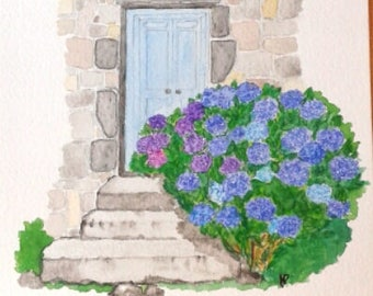 Watercolor, Watercolor, gift, Gift, painted hydrangea, hydrangea