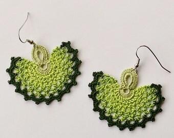 Oya earrings, Turkish lace crochet