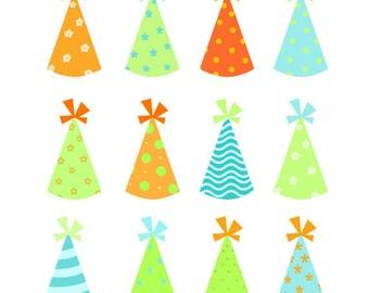 Party Hats Set, Birthday, Kids, Celebration, Illustration, PNG