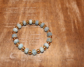 Turquoise and Gold Beaded Stretch Bracelet