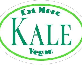 Vegan Eat More Kale Green and White Vinyl Decal sticker , Vegan love, Vegan sticker, Vegan decal, Vegetarian gift, Veggie love