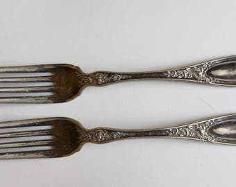Antique Wallace Silver Plate Forks Set Of 2 Blossom