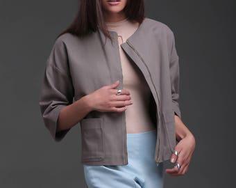 Womens blazer, summer jacket, summer blazer, cotton blazer, cropped blazer
