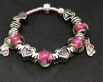 Pink Rose Pandora Style Bracelet