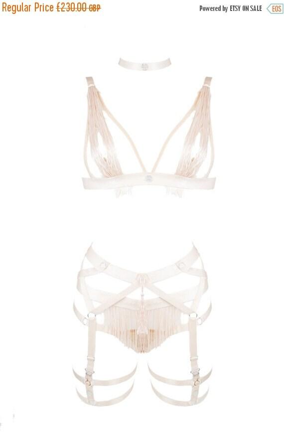 Handmade Silk-Frindge Adjustable Crystal Embellished Bondage Set, Made-to-Order/Bespoke/Custom UK