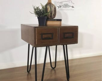 Upcycled vintage antique library card files storage, industrial filing cabinet End/Side Table