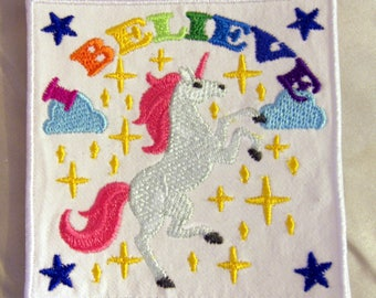 Embroidered White Unicorn Rainbow I Believe Fantasy Fairytales Patch Iron On Sew On USA