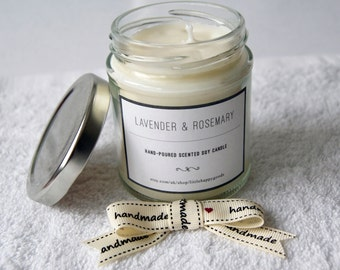 Lavender and Rosemary - Handmade soy wax aromatherapy candle