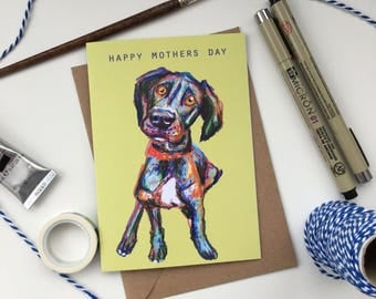Mothers day dog card, A6 blank inside, Mothers day card, dog card, great dane card, dog lover card, mothers day greeting card, dog mum card