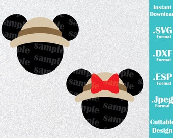 INSTANT DOWNLOAD SVG Disney Animal Kingdom Inspired Mickey and Minnie Ears Cutting Machines Svg, Esp, Dxf and Jpeg Format Cricut Silhouette