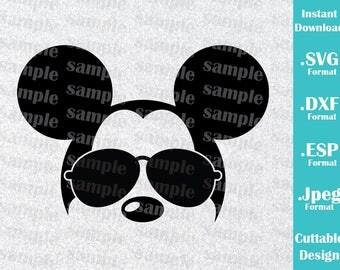 INSTANT DOWNLOAD SVG Disney Inspired Mickey Mouse Sunglasses Ears for Cutting Machines Svg, Esp, Dxf and Jpeg Format Cricut Silhouette
