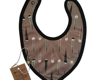 Organic Cotton Triangle Baby Bib with Feather print