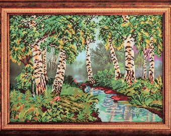 "Bead Embroidery Kit DIY Birch Grove 10.6""x14.9"" - Color Canvas Bead Set Needle Guide Beginners"