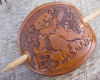 Hand Tooled Leather Hair Barrette with original Grateful Dead Dancing Bear, Mushroom, Butterfly and Sunflower Design. Free Shipping