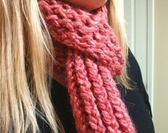 Coral Pink Thick Scarf