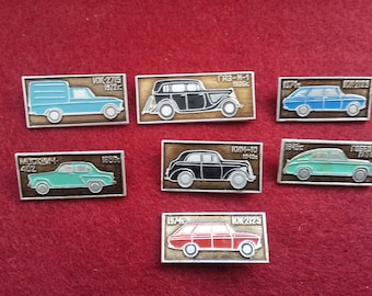 7 pcs Retro Automobiles, Badges, Set, Vintage collectible badge, Soviet Vintage Pin, Soviet Union, Made in USSR