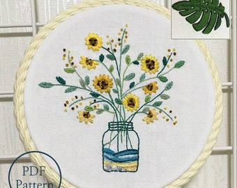 New Updated Guide and Instructions_plus_ Bonus Free Pattern_Sunflowers In The Bottle_PDF files_instantdownload files_Hand Embroidery Pattern