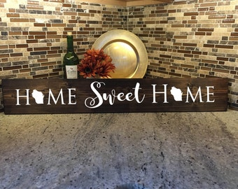 "Home Sweet Home | Wisconsin Gift | Welcome Gift | Home Decor | 36"" Wood Sign 