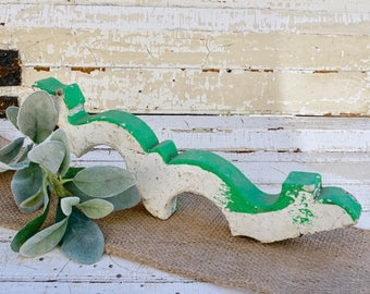 Chippy green and white gingerbread trim piece