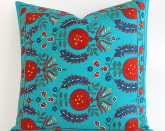 SALE ! - Green Red Turquoise Pillow Suzani Pillowcase  Vintage Hand Embroidered Uzbek Organic Decorative Home Decor Suzani Pillow Cushion