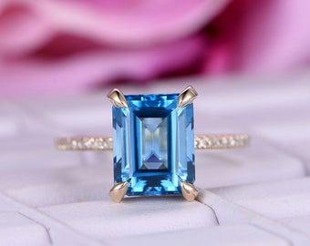 8x10mm Emerald Cut 3.8ct London Blue Topaz Engagement ring/14k Yellow gold diamond band/Halo Stacking/Half Eternity wedding ring/Birthstone