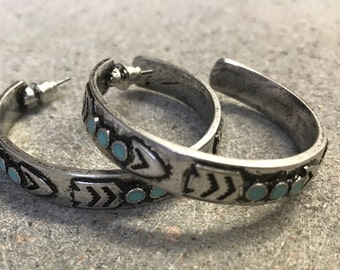 Silver Hoop Earrings with Arrow and Turquoise Details