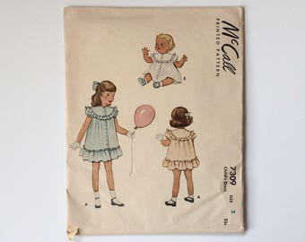 1940s Girls age 2 Dress with Ruffles Sewing Pattern  : McCall's 7309