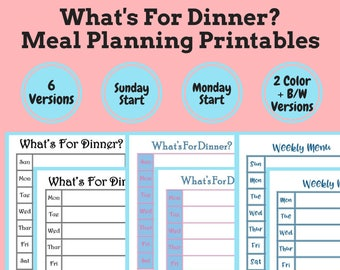 Meal Planning Printable Set, Meal Plan Board, Weekly Dry Erase Menu Planner, Meal Planner, Printable Menu, Kitchen Command Center, Blue Menu