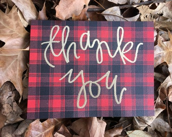 Plaid Thank You Cards
