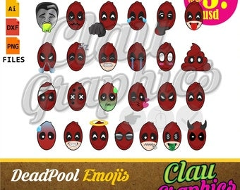 DeadPool Emojis, SVG patterns, DXF files, PNG images and editable files, cute patterns for all your projects