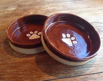 Wheel thrown, brown, pawprint dog bowls