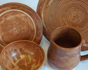 handmade, wheel thrown stoneware dish set