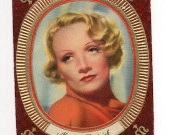 Vintage Marlene Dietrich 1936 Garbaty Passion Film Star Embossed Cigarette Card #19