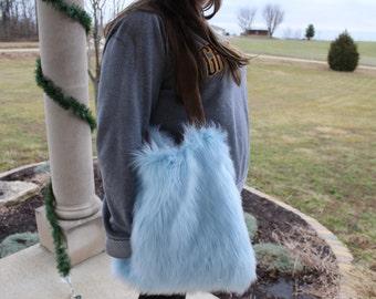 Baby Blue Faux Fur Tote Bag