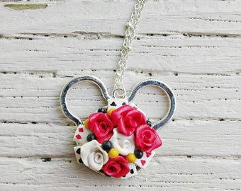 Queen of Hearts Necklace, Alice in Wonderland Pendant, Disney Necklace, Disneybound Jewelry, Disney Gift, **FREE USA SHIPPING**