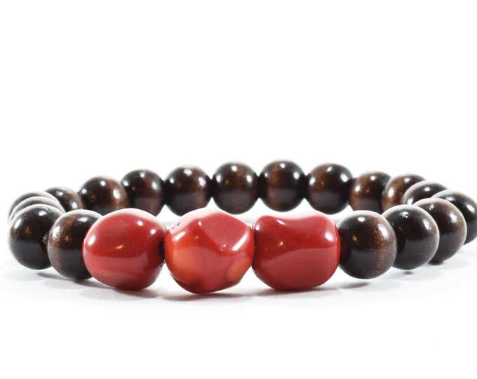 Unisex Bracelet with Red Coral & Wood Beads.