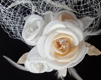 Champagne/Ivory Flower Fascinator, Wedding Bridal Birdcage, Face Veil, Wedding Veil, Bridal veil, Vintage inspired birdcage veil