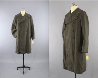 Vintage 1940s WWII Wool Coat / 40s WW2 Men's Wool Overcoat / US Marine Corps Uniform / Usmc Officer Trench Coat / Marine Corps Overcoat