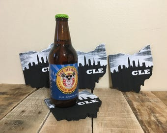 CLE Coasters - Reclaimed Pallet Wood in shape of Ohio (Set of 4)