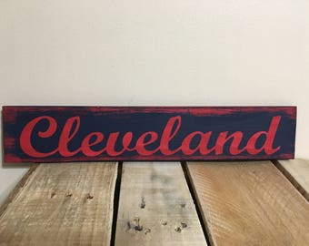 Cleveland Indians Colors Sign, Hand Painted, Reclaimed Pallet wood, Rustic look